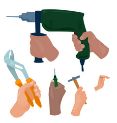 Hands with construction tools cartoon style vector