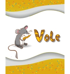 Animal alphabet letter v and vole vector