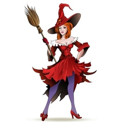 Pretty witch with a broom vector