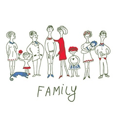 Family event - funny sketch vector