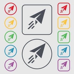 Paper airplane icon sign symbol on the round and vector