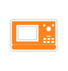 Icon sticker realistic design on paper microwave vector