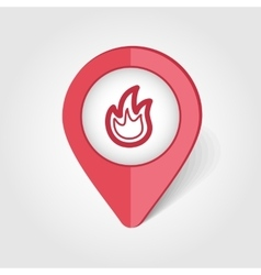 Fire map pin icon vector
