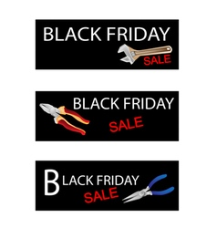 Wrench and pliers on black friday sale banners vector