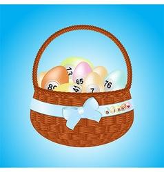 Easter basket with bingo eggs vector image