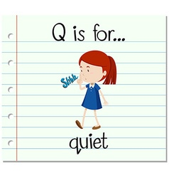 Flashcard letter q is for quiet vector