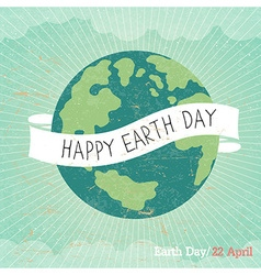 Vintage earth day poster cartoon earth rays clou vector