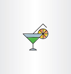 Cocktail drink glass icon vector