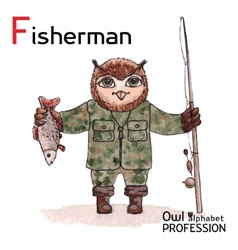 Alphabet professions owl letter f - fisherman vector
