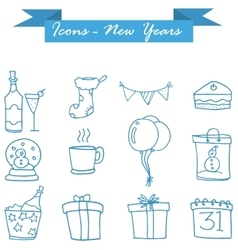 Art of new year icons vector