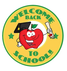 Back to school cartoon logo vector image