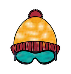 Beanie and glasses design vector