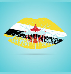 brunei flag lipstick on the lips isolated on a vector image vector image