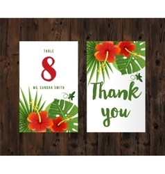 Cards with tropical leaves and flowers vector