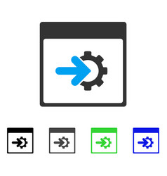 Cog integration calendar page flat icon vector