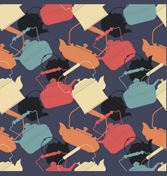 colorful seamless pattern with different teapots vector image