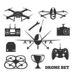 drone elements monochrome set vector image