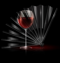 fan and glass of wine vector image vector image