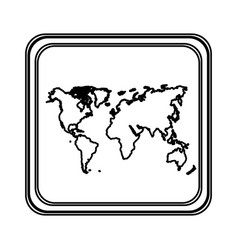 figure emblem earth planet map icon vector image vector image