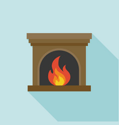 Fire and fireplace icon with long shadow vector