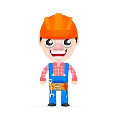 Friendly builder with helmet vector