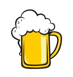 Frothy tankard of golden beer vector image vector image