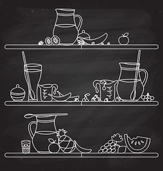 Fruit smoothie bar shelf hand drawn in fl vector