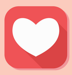 Heart icon with long shadow modern simple flat vector