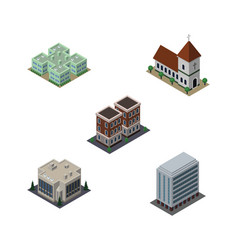 Isometric building set of office house clinic vector