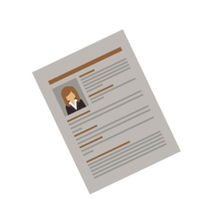 Side document with woman curriculum vitae vector