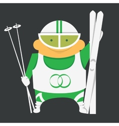 Skier with skiing equipment vector image vector image