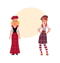 two scottish women in national clothes tartan vector image vector image