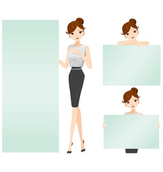 Woman showing blank signs set vector