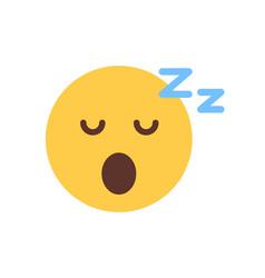 yellow smiling cartoon face sleep emoji people vector image