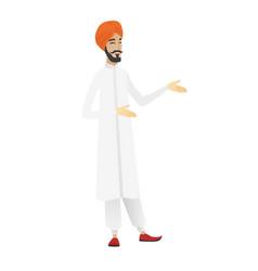 Young hindu happy businessman gesturing vector