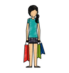 young woman with shopping bags vector image vector image