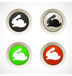 Set of colorful plastic buttons with rabbit vector