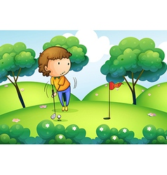 A woman playing golf at the top of the hill vector