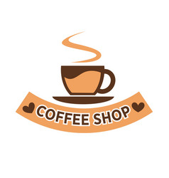 coffee shop colorful flat logotype isolated on vector image