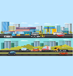 Car evacuation horizontal banners vector
