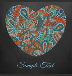 Doodle floral heart red and marine for black vector