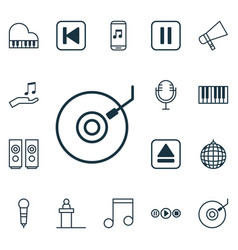 set of 16 music icons includes mike sound box vector image