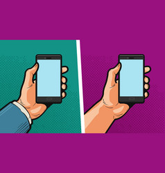 Smartphone mobile phone in hand comics style vector