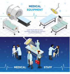 Medical equipment horizontal banners vector