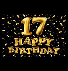 17 years anniversary invitation card - shiny gold vector image vector image