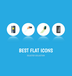 flat icon smartphone set of screen keep phone vector image