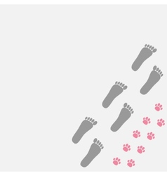 Grey bare foot print and pink paw print in the vector