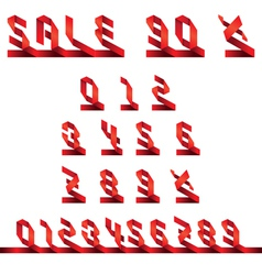 Sale text and numbers set origami style vector