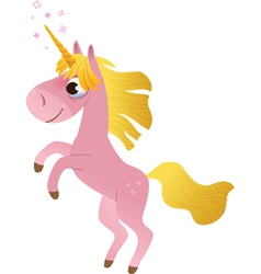 Cartoon unicorn rearing up vector image