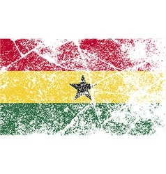 Flag of ghana with old texture vector